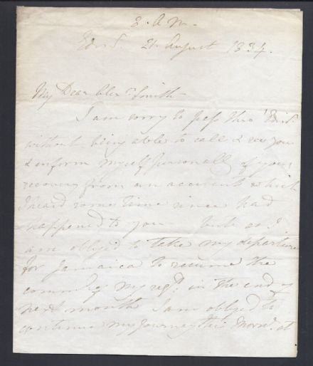British General Sir George Cathcart Signed Letter 1834 Leaving for Jamaica